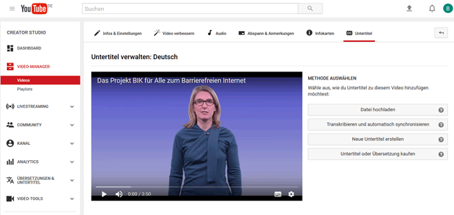 Screenshot der Untertitel-Verwaltung des YouTube Video-Managers